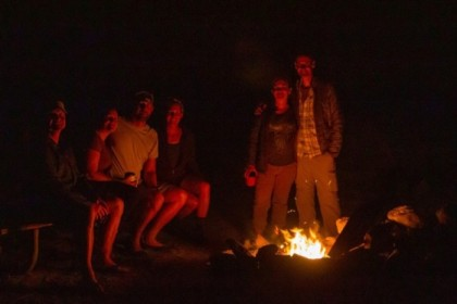A campfire, when backpacking, in California!