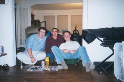 James, myself, and Doyle playing caps