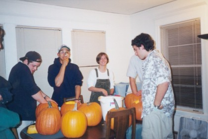 Pumpkin carving party, during carving Brian, Snake, Spike, (myself hiding behind John), John