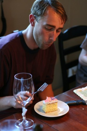Strategically sliced cake