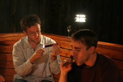 Two cigar experts light up