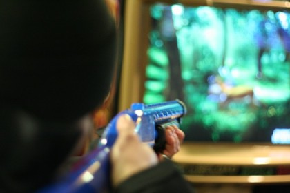 Looking down the barrel of a very blue gun
