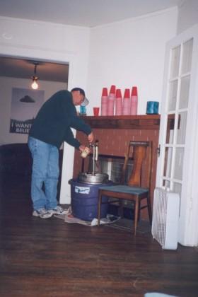 I test the keg. Note the foam