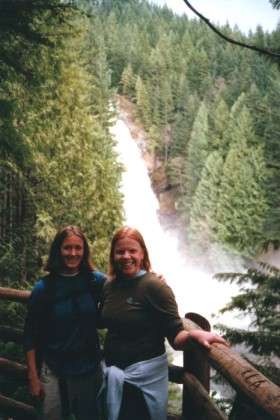 Spike and Chryssi in front of Wallace Falls