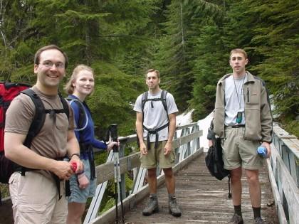 Rob, Chloe, Pete, and me on the bridge, taken by John