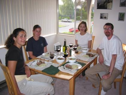 Mary Ann, Marna, Lisa, and Jess ready to eat some lamb