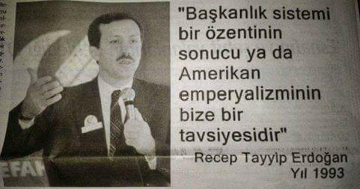 """Cumhurbaşkan'ı Erdoğan, Refah Partisi il Başkan'ı Erdoğan'a seslendi : """"Milletim başkanlık sistemi diyor, sen istesen ne olur istemesen ne olur ? """""""