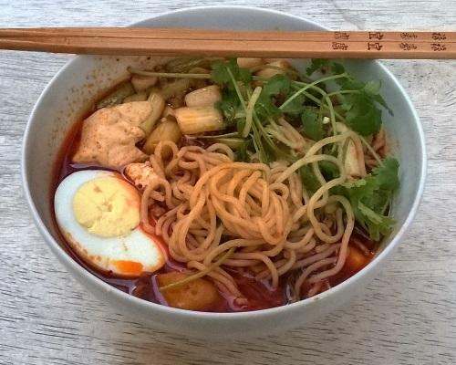 Korean Gochujang Tofu Soup with Noodles
