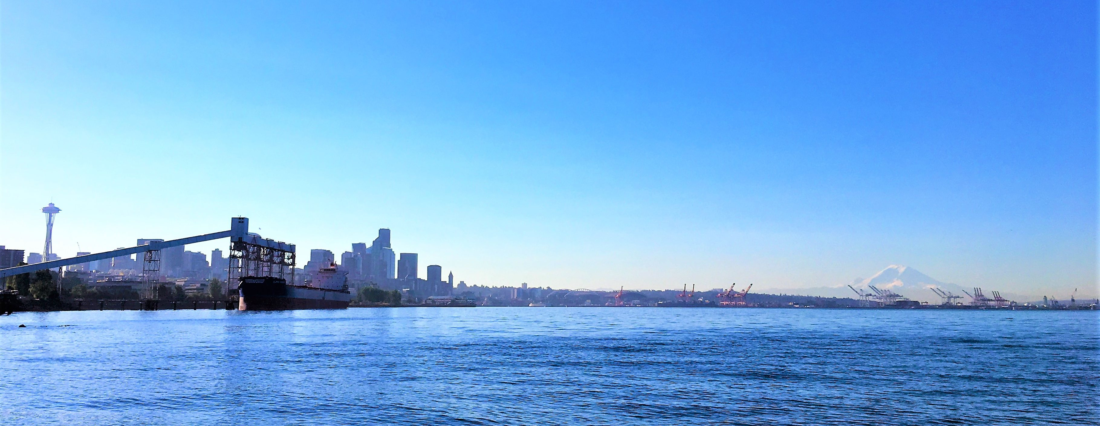 Downtown Seattle on a sunny day as seen from Elliott Bay