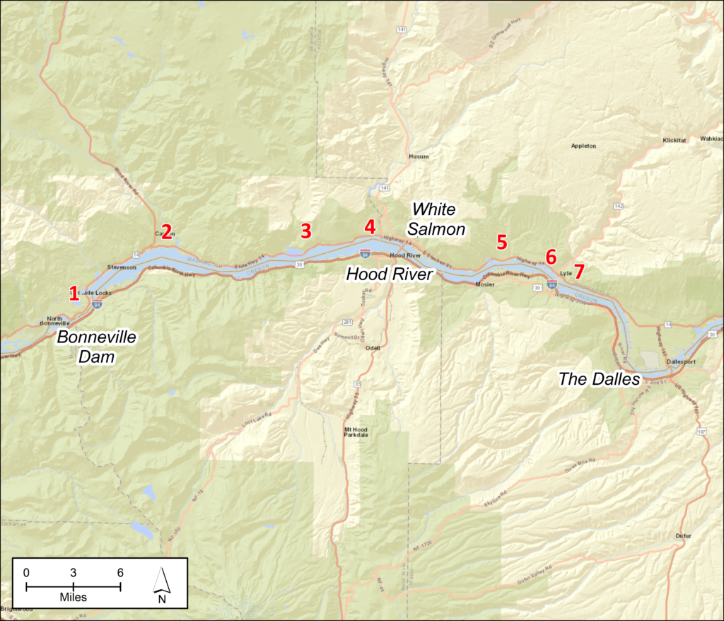 Figure 1. Geographic areas of concern on the Columbia River, between the Bonneville and The Dalles Dams. See text for detailed site descriptions.