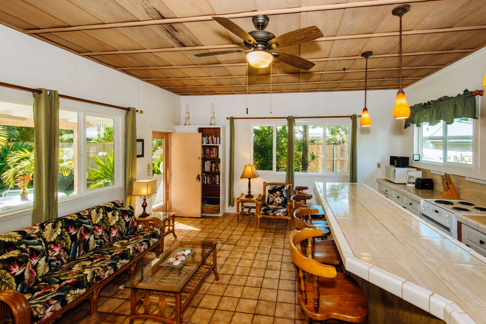 12. beach cottage living room and kitchen 86 s. kalaheo avenue