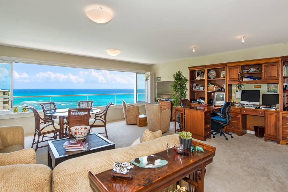 01. living area w ocean views 2895 kalakaua ave  1205 1206