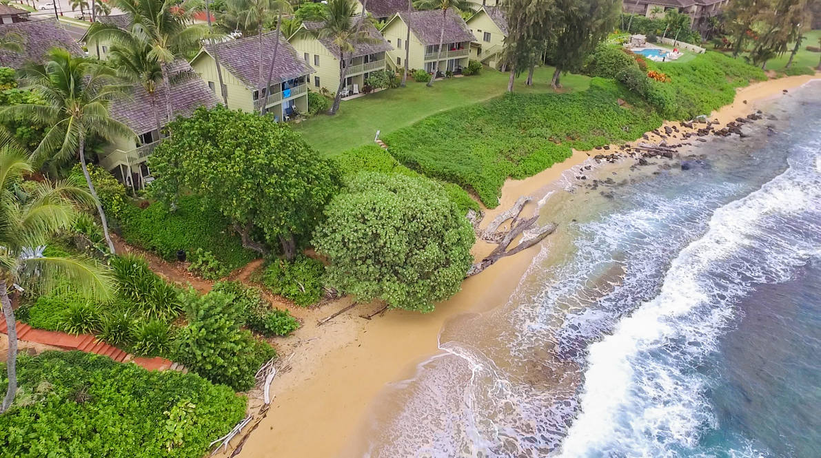 Drone above beach   view 1