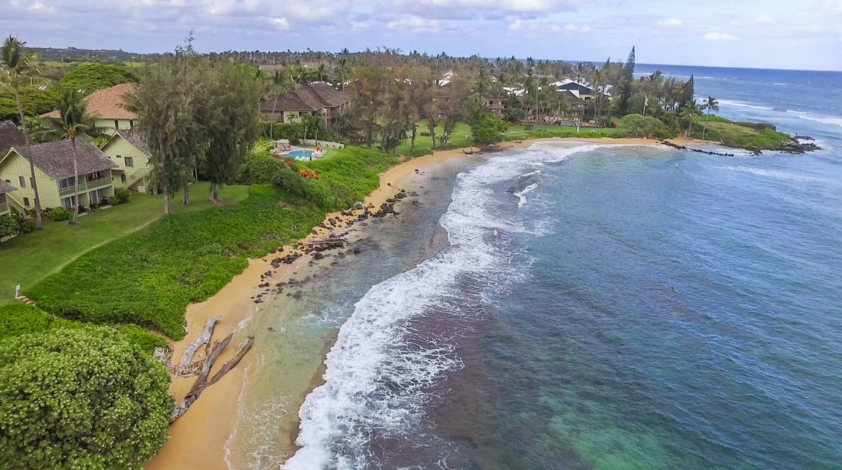 Drone above beach   view 2