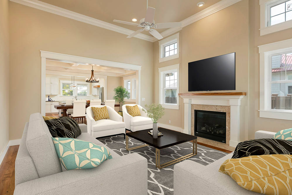 Living dining staged