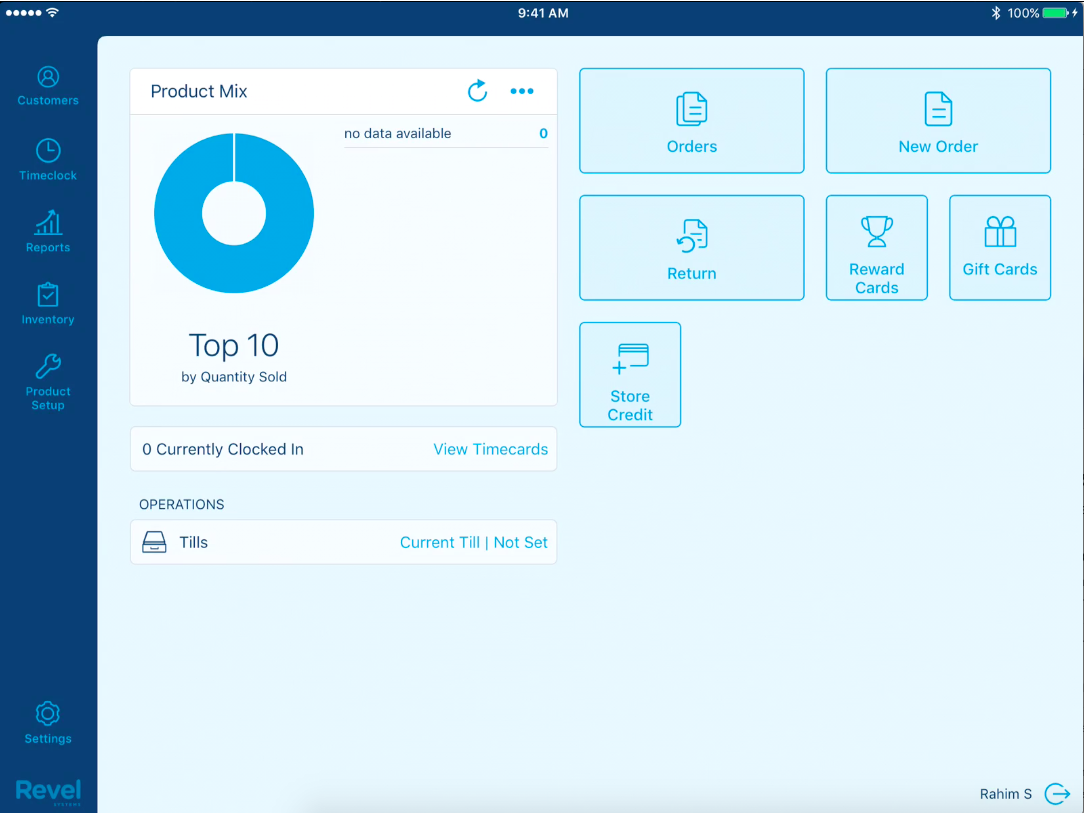 in to the application you will see the dashboard which provides a graphic breakdown of product sales operations features and actions of the pos