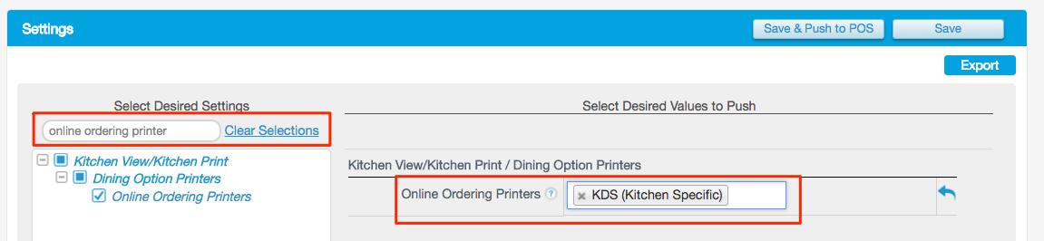 On The Right Side Locate Online Ordering Printers Field Click Box And Choose Correct Or Displays You Want Your Orders To Send
