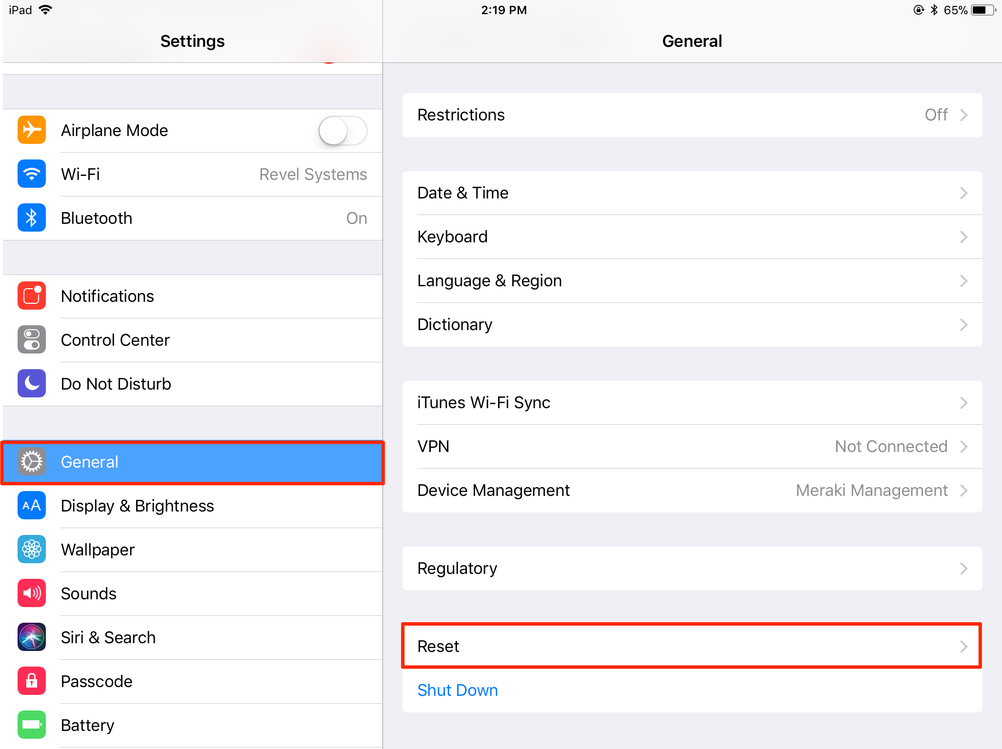 How To Reset Ipad Network Settings Revel Systems Help Site