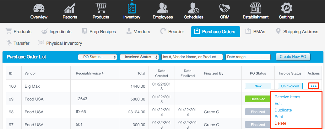 in the purchase order page click the receive icon in line with the purchase order