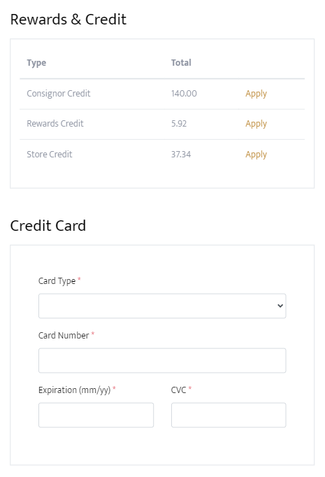 The customer can apply any rewards or credit they may have accumulated on their account.