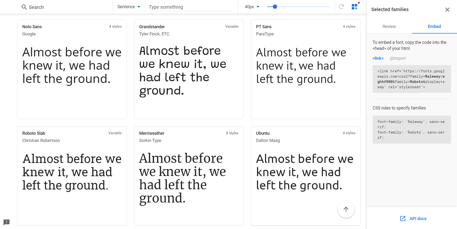 Screenshot of the Google Fonts home page.