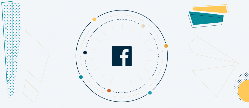 facebook logo with illustrated connections
