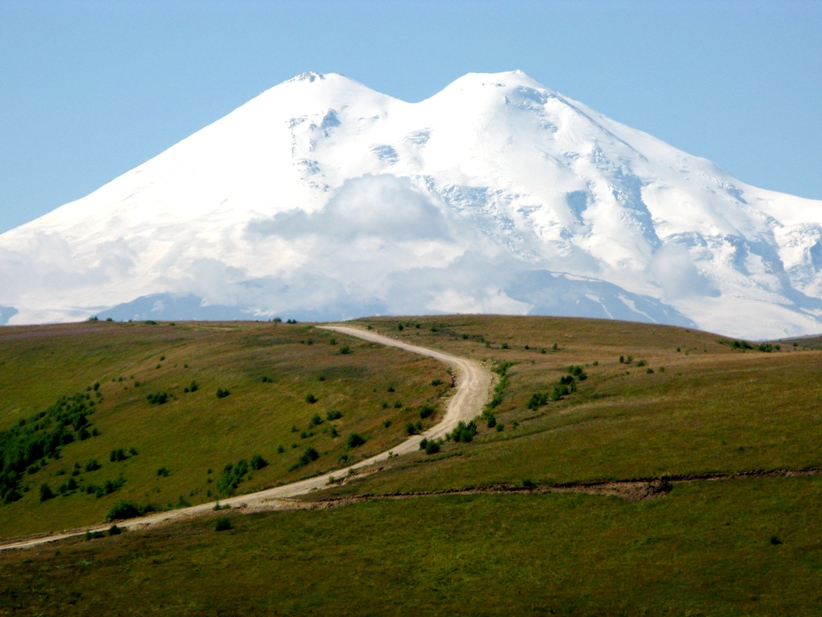 The view of the northside of Mt. Elbrus as the team approaches basecamp. Photo: RMI Collection