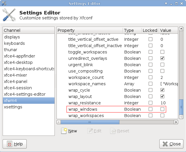 Screenshot of Settings Editor