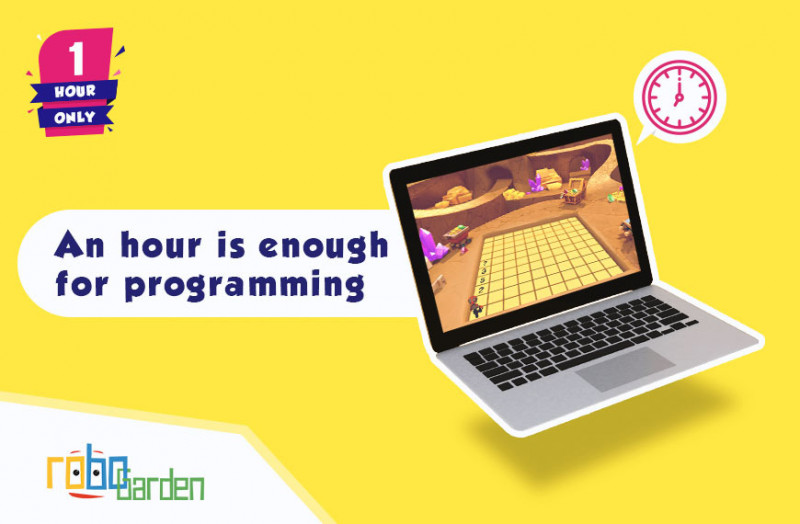 Cartoon image showing laptop that shows robogarden field.