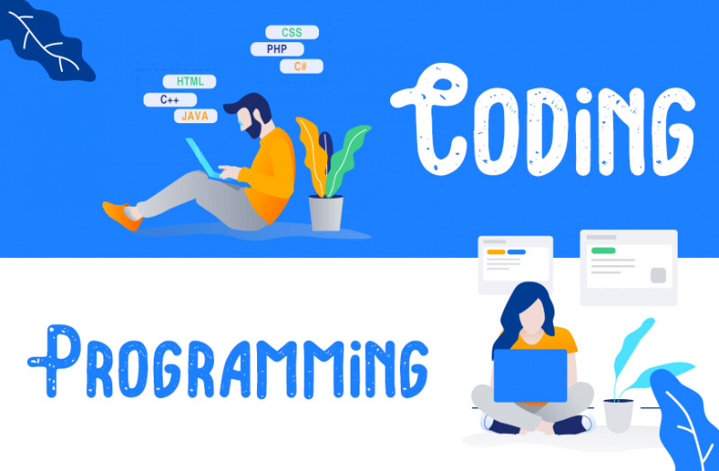 cartoon image showing the difference between coding and programming.