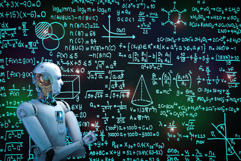 Cartoon Image showing a robo solves several equations.