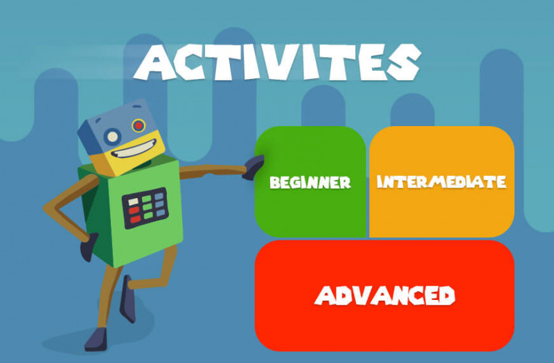 Cartoon Image showing the three levels of RoboGarden activities