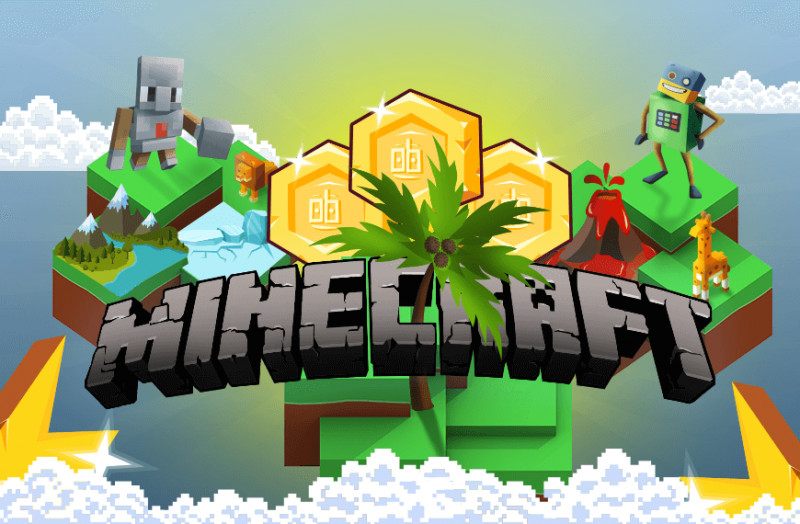 Cartoon Image to show how to use Minecraft as a game-based learning platform with RoboGarden.