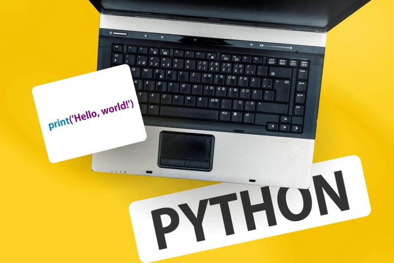 image shows the word of python and line of code beside laptop