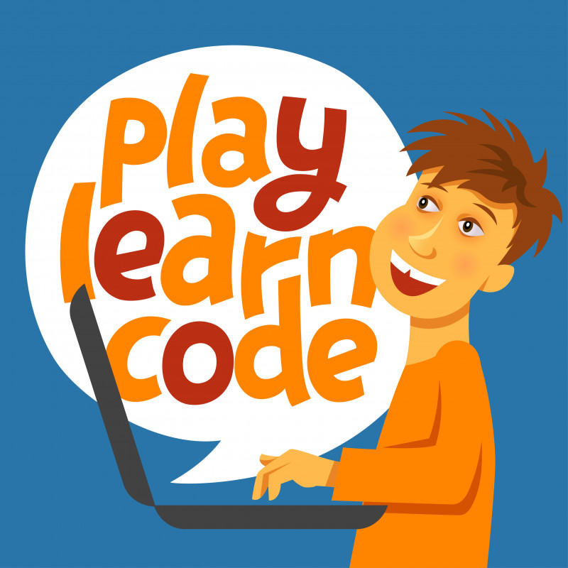 "Cartoon image showing a kid learns on laptop with logo ""play, learn and code""."