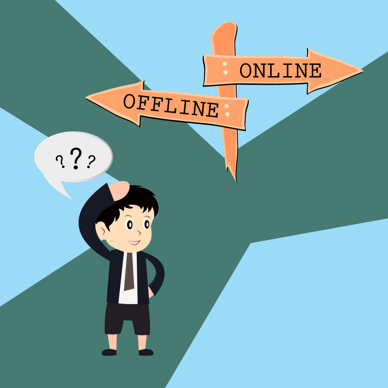 Cartoon Image showing a kid feels confused between Two methods online method or an offline?