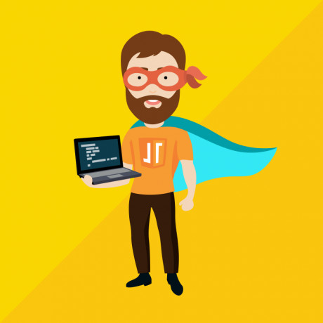 Cartoon image to show super coder wearing javascript shirt and carrying his own laptop.