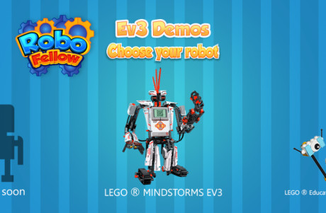 Cartoon image showing LEGO Mindstorms EV3 robot on RoboFellow app