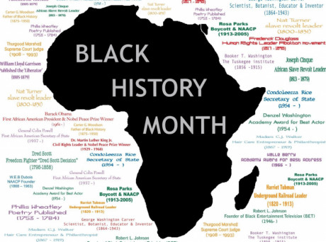 image shows the shape of African continental with word of Black History Month.