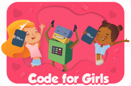 Cartoon image showing the happiness of girls who learn coding