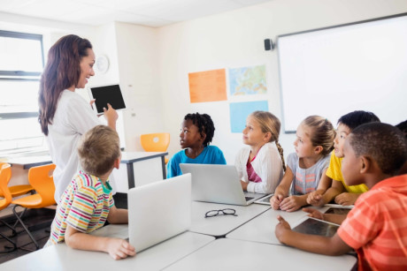 Image showing a physical coding camp held in a classroom
