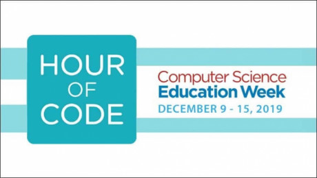 Image shows the words of Hour of code and computer science education