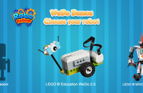 Cartoon image showing the LEGO WeDo robot on RoboFellow app
