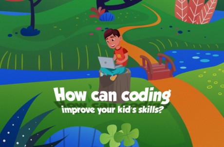 cartoon image showing coder kid uses his laptop