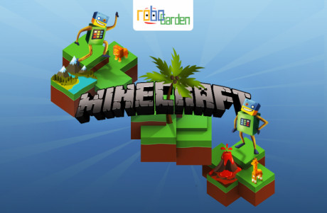 Cartoon image showing various playable Minecraft modes.