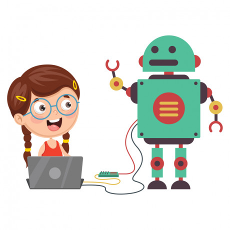 cartoon image showing a small girl is playing with her robot.