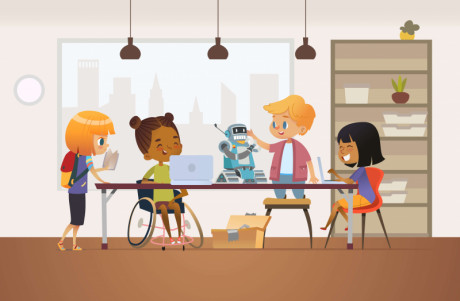 cartoon image showing that kids can play with Robo.