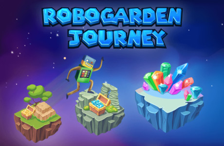 cartoon image shows the wonderful assets and coins that robo collects in robogarden