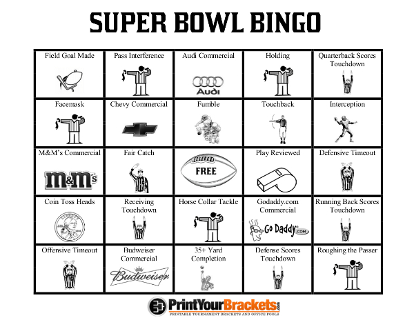 photograph about Super Bowl Party Games Printable named printable-tremendous-bowl-bingo-sheets Accurate Home Control