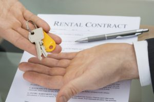 Signing a lease. Key exchange.
